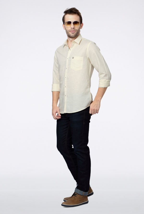 Allen Solly Cream Solid Casual Shirt