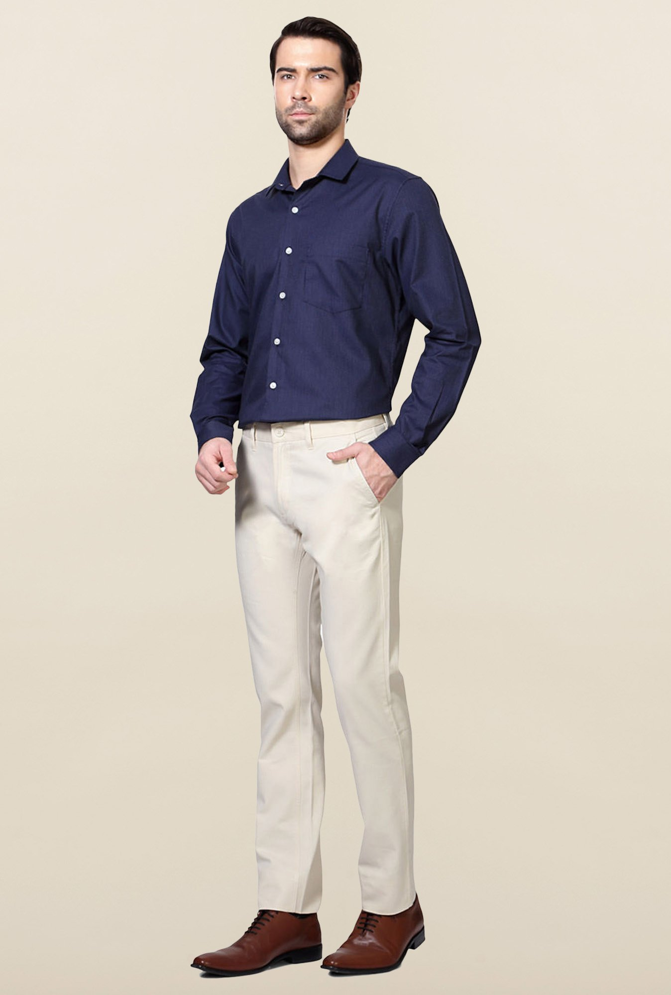 Allen Solly Cream Solid Cotton Trouser