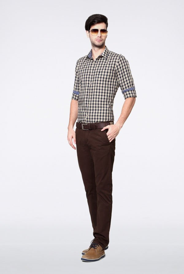 Allen Solly Beige & Black Checks Casual Shirt