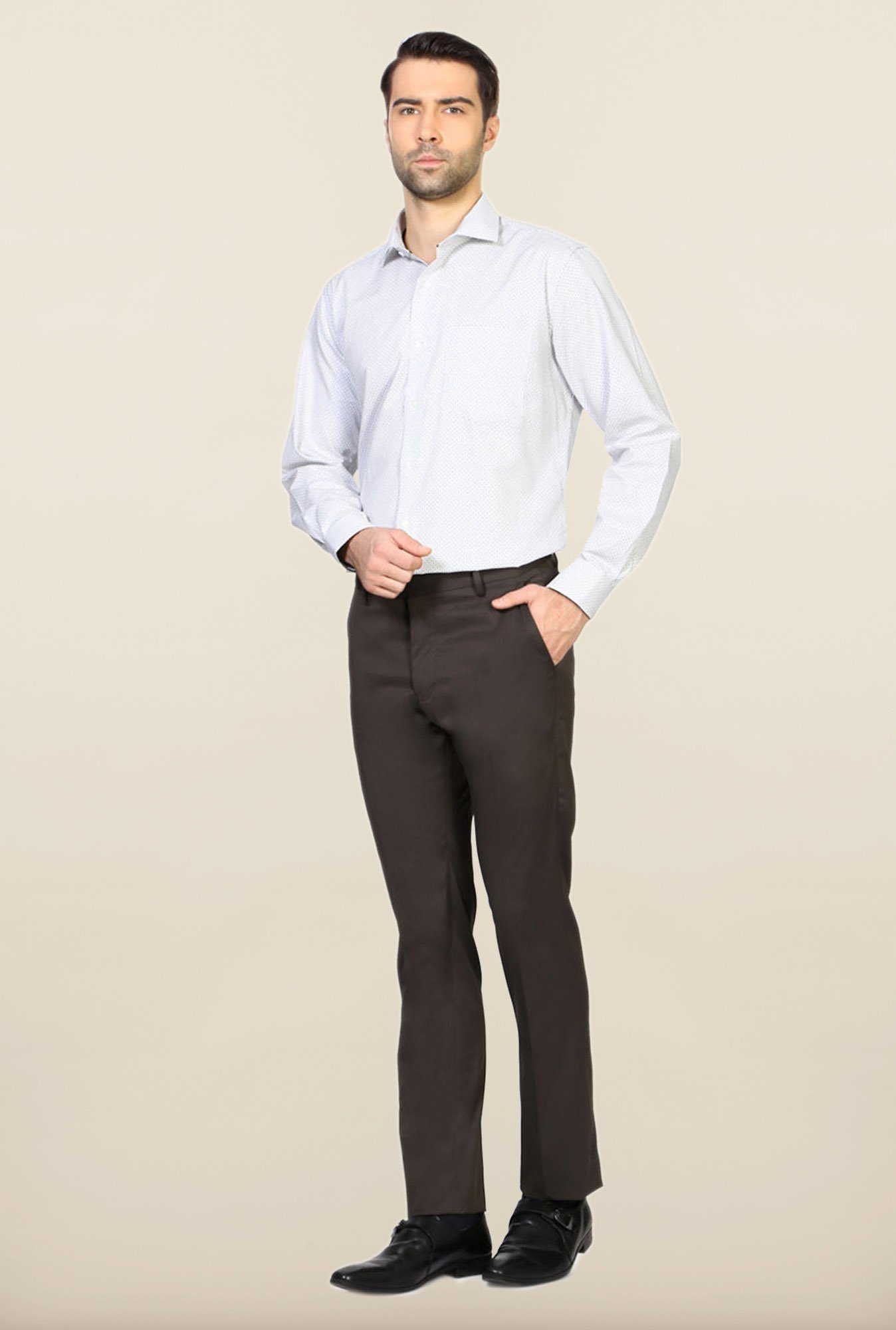 Allen Solly Brown Solid Trouser