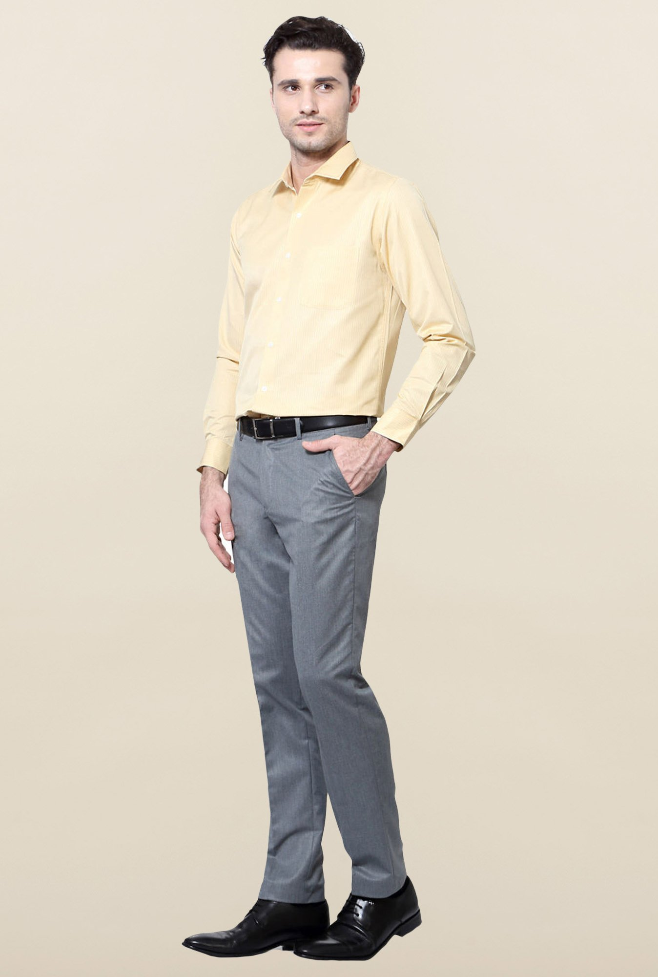 Peter England Yellow Striped Slim Fit Formal Shirt
