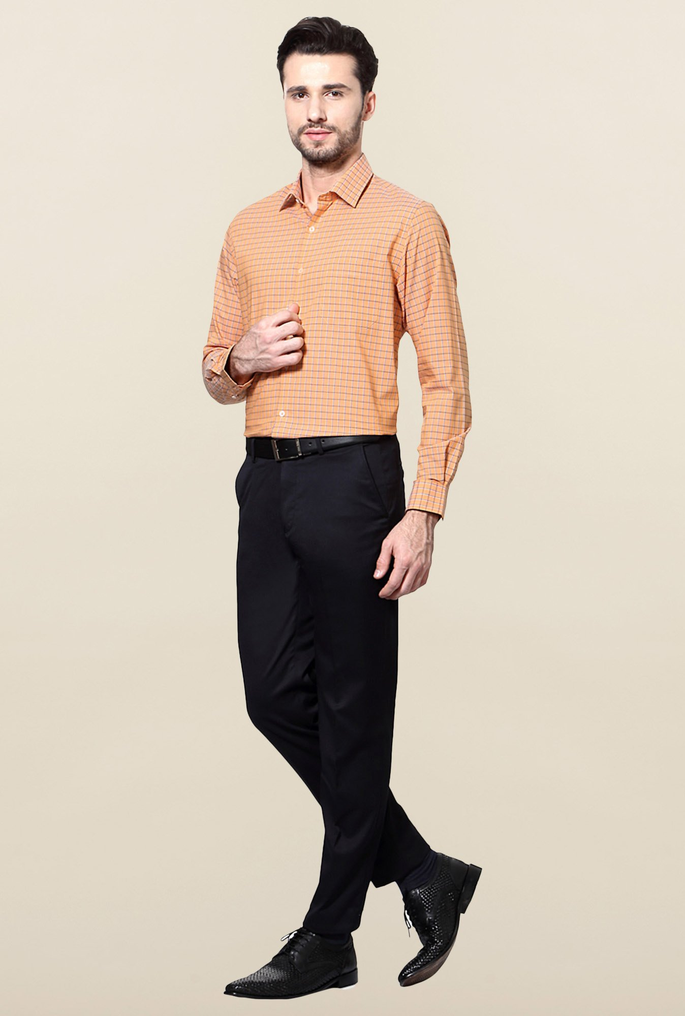Peter England Orange Checks Cotton Formal Shirt