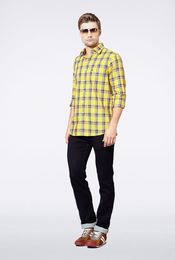Allen Solly Yellow & Blue Checks Slim fit Casual Shirt