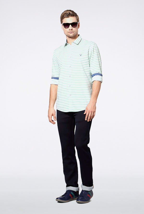Allen Solly Green Striped Casual Shirt