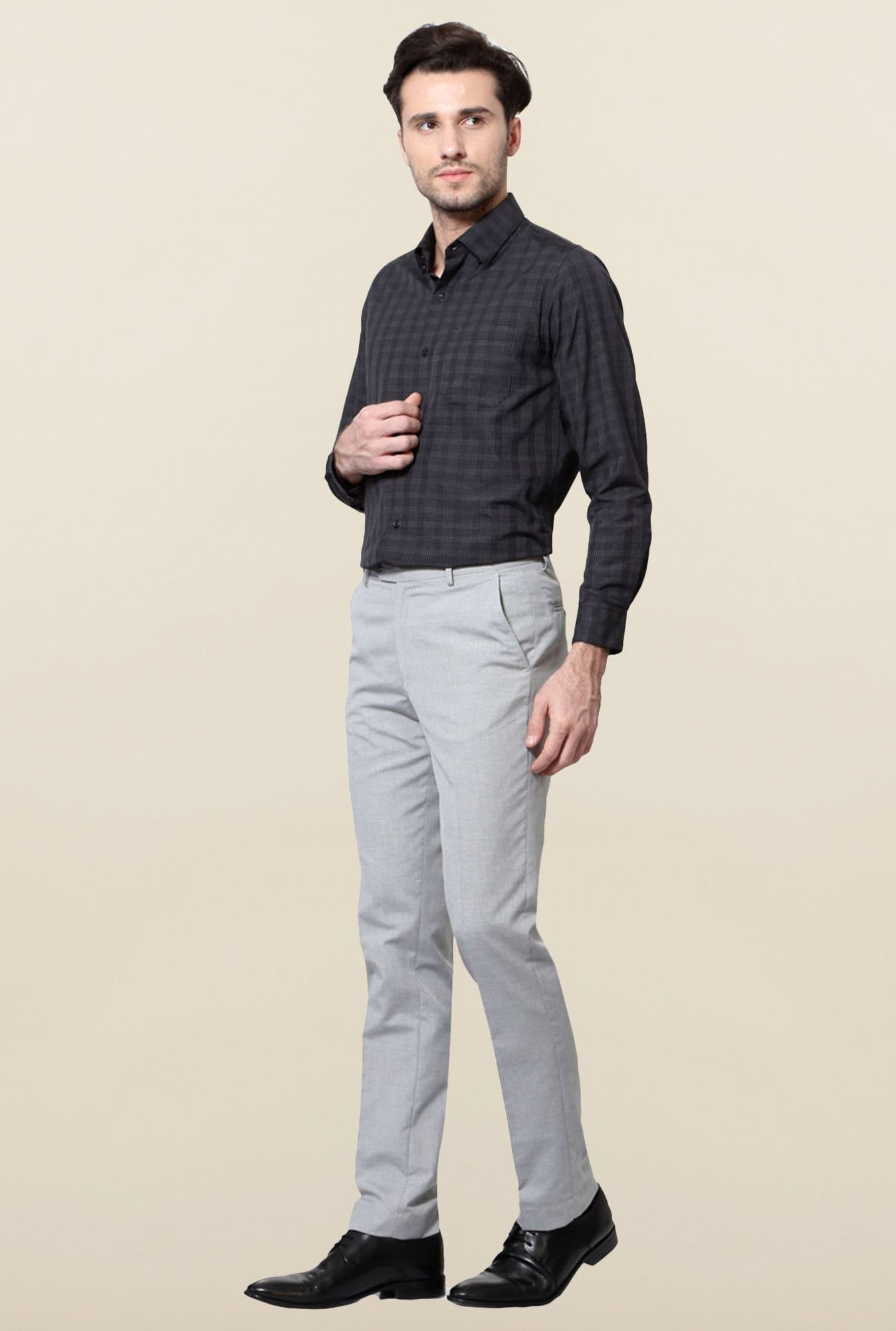 Peter England Grey Slim Fit Mid Rise Trouser