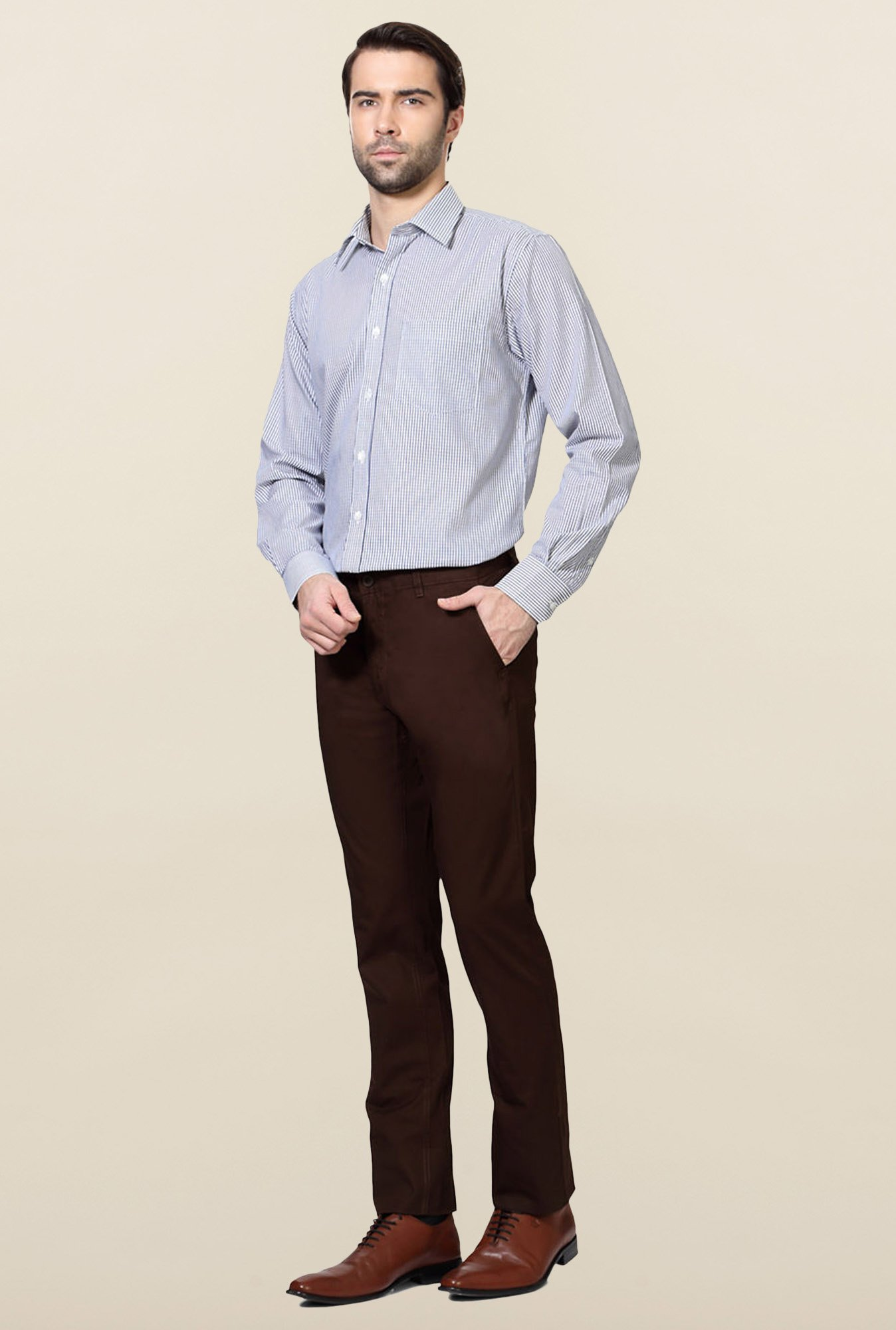Allen Solly Brown Solid Cotton Trouser