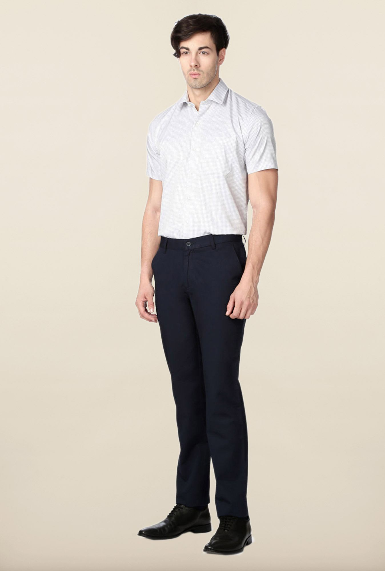 Peter England Navy Slim Fit Cotton Trouser