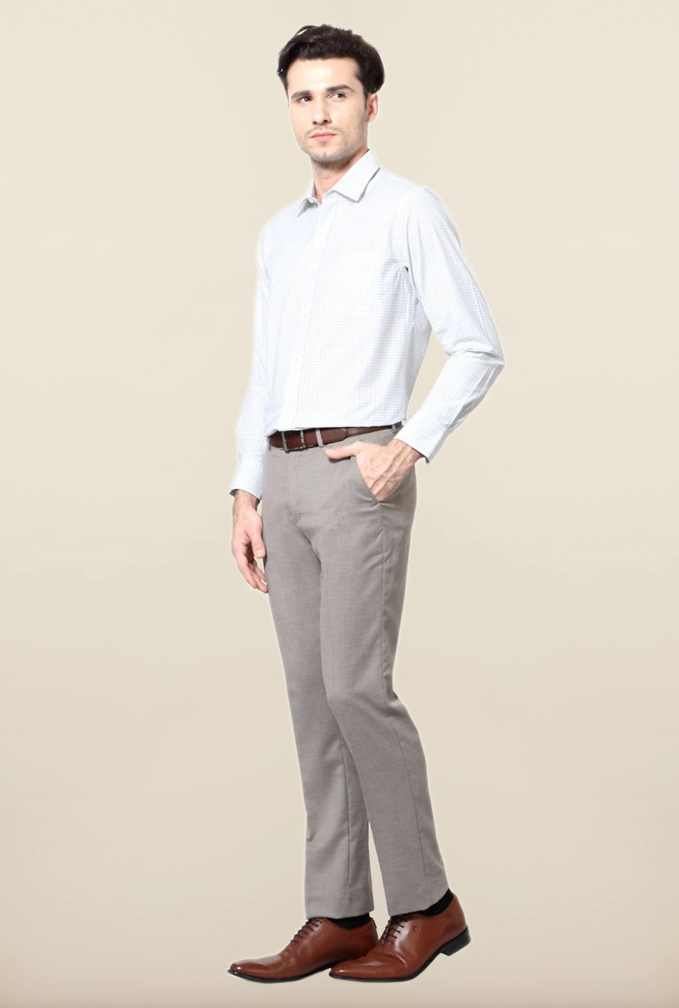 Peter England Grey Solid Slim Fit Trouser