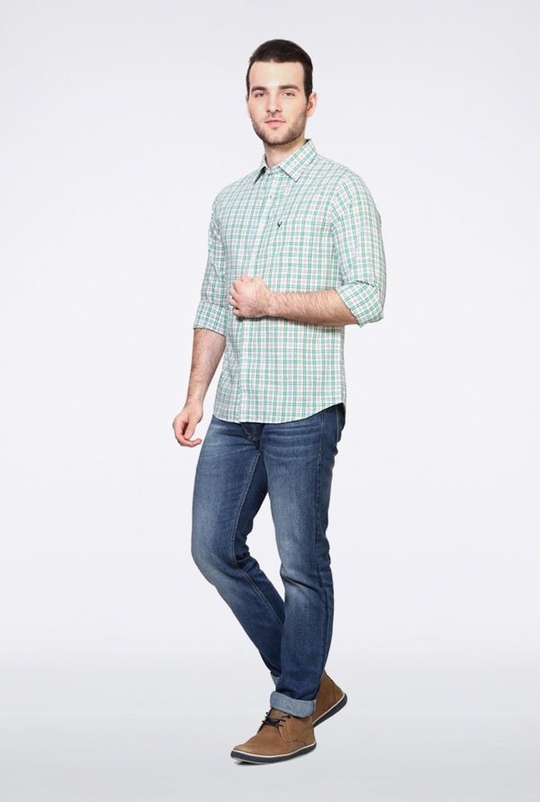 Allen Solly Green & White Checks Casual Shirt