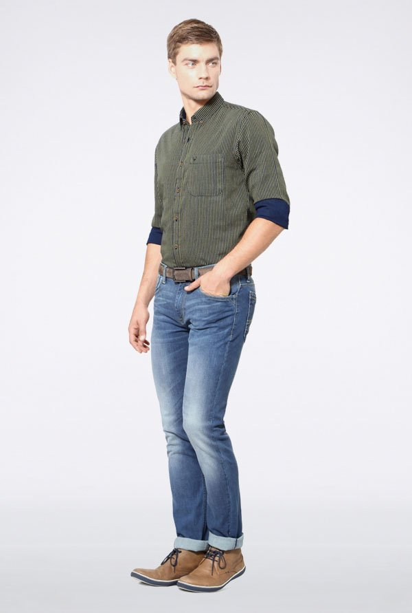 Allen Solly Olive Striped Casual Shirt