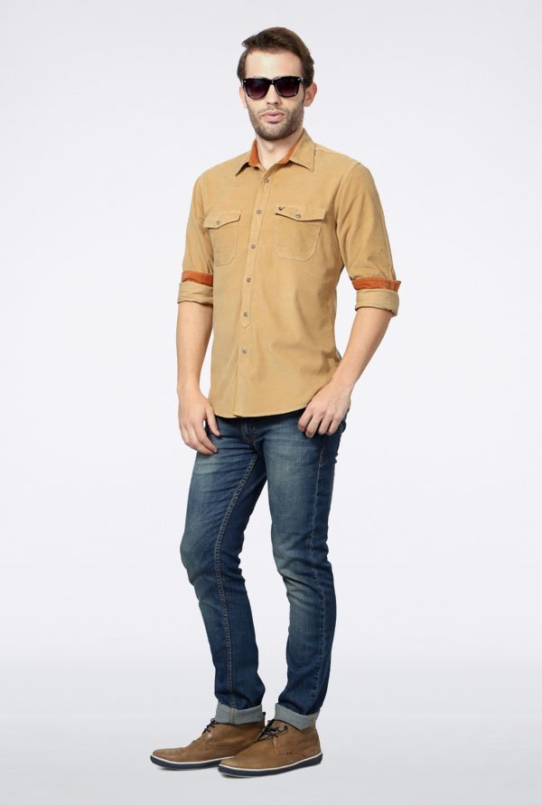 Allen Solly Orange Solid Casual Shirt