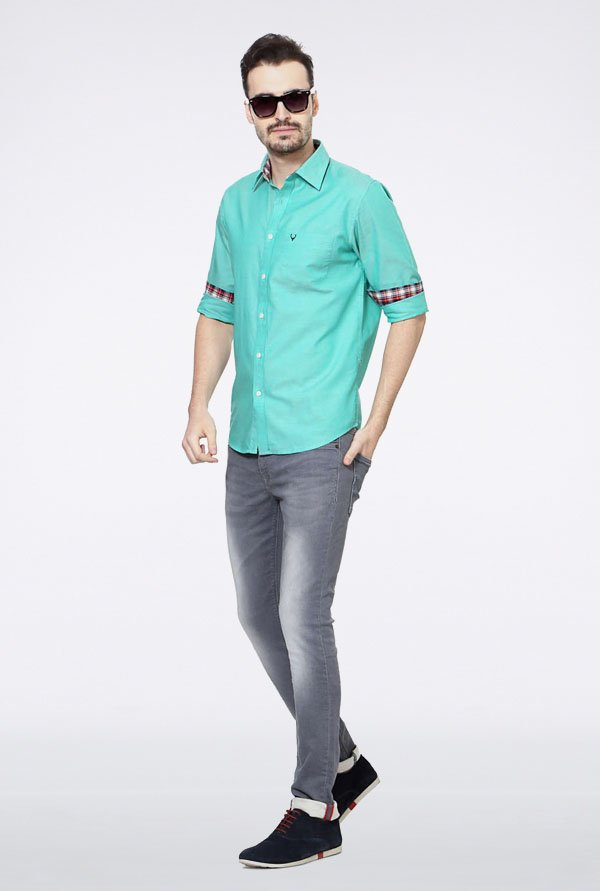 Allen Solly Turquoise Solid Slim fit Casual Shirt