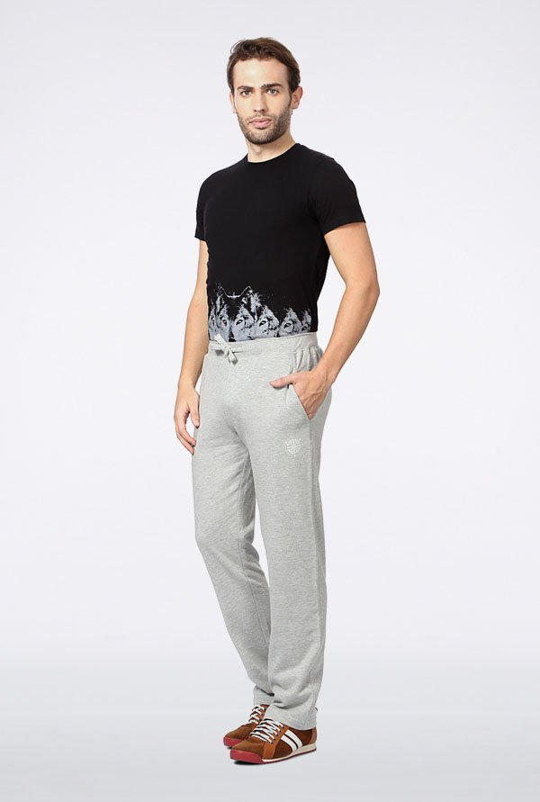Peter England Grey Solid Track Pant