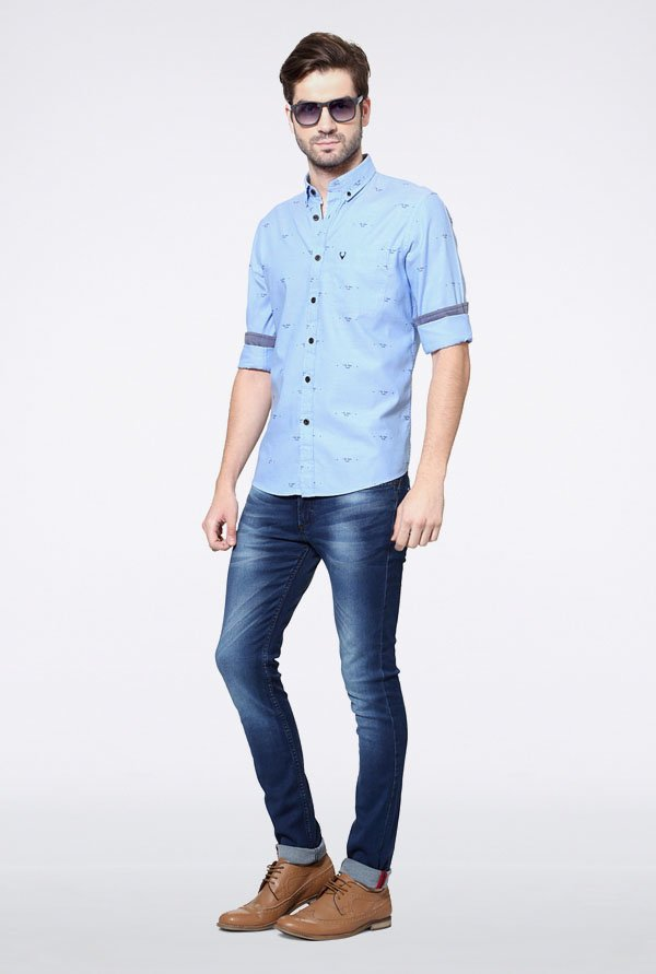Allen Solly Light Blue Printed Casual Shirt