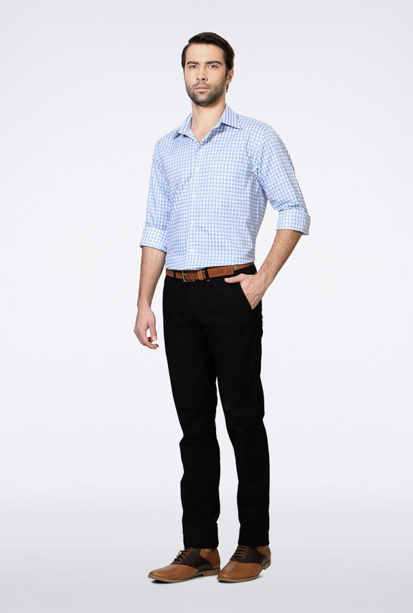 Allen Solly Blue Gingham Checks Casual Shirt