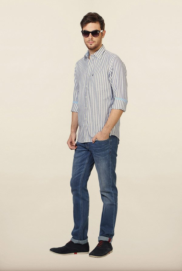 Allen Solly Navy Striped Slim fit Casual Shirt
