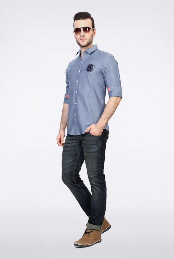 Allen Solly Blue Solid Slim fit Casual Shirt