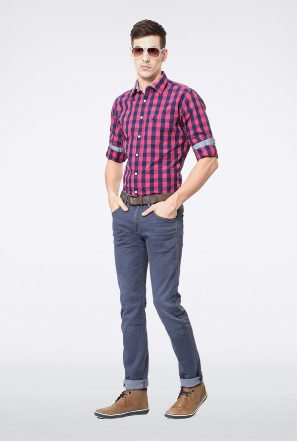Allen Solly Pink & Blue Checks Slim fit Casual Shirt