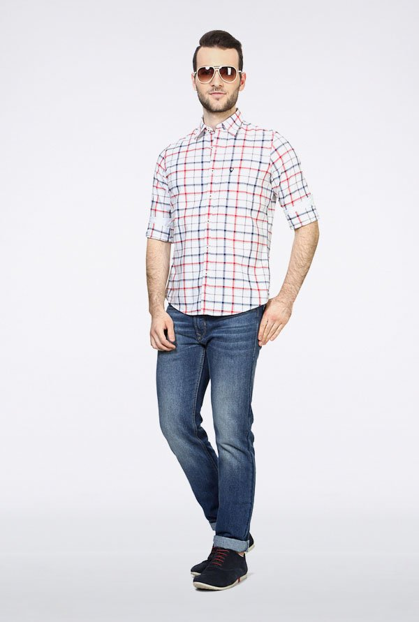 Allen Solly White Checks Casual Shirt