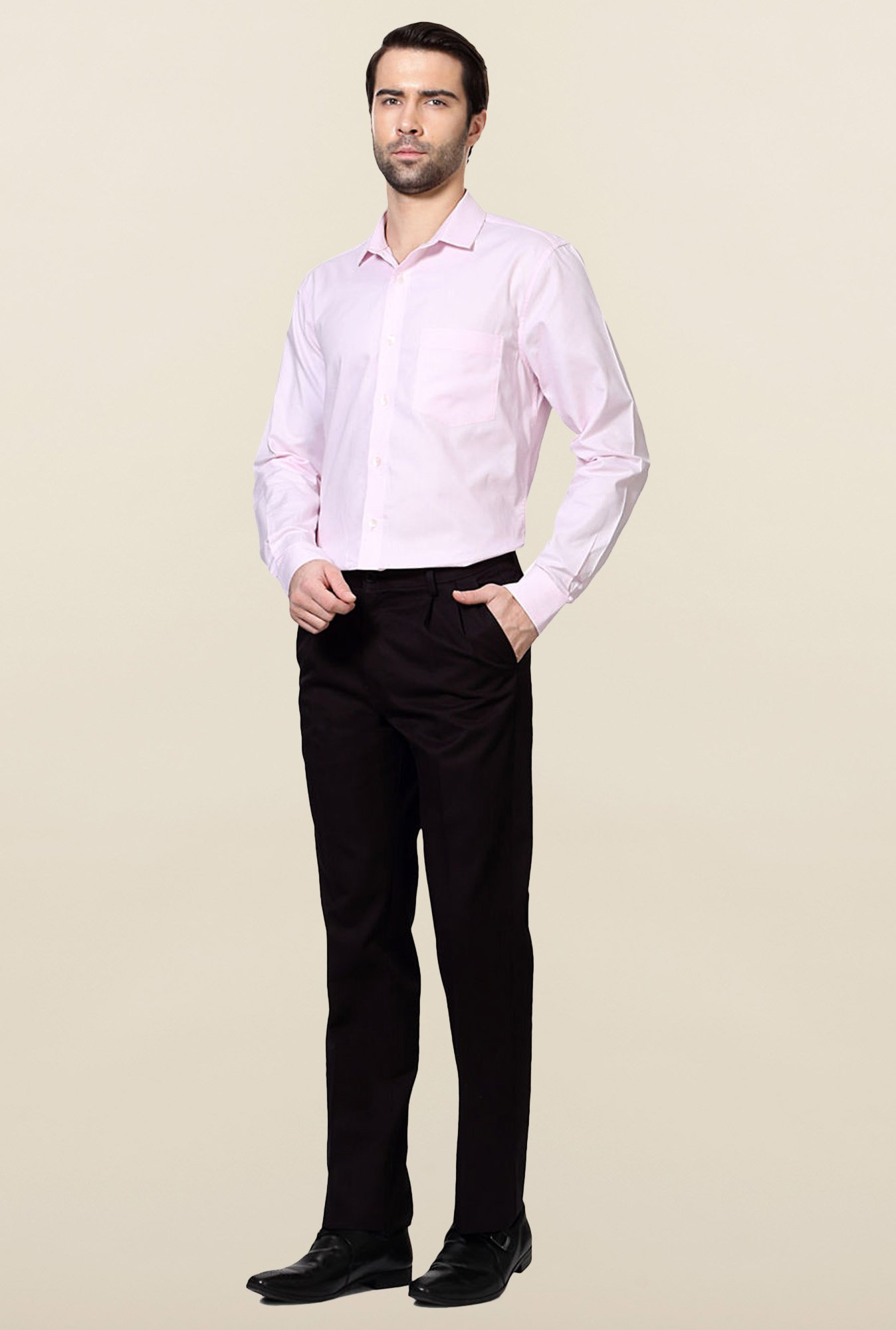 Allen Solly Black Solid Cotton Trousers