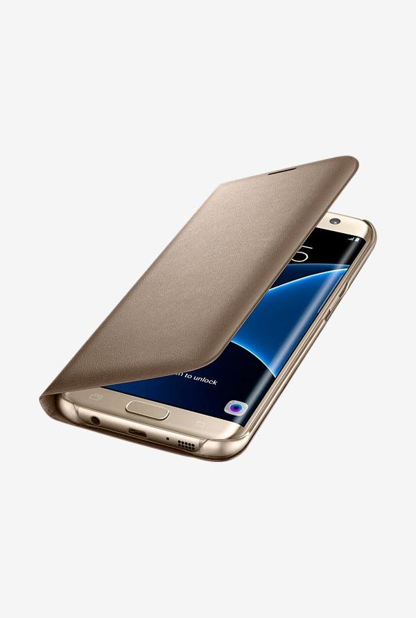 Samsung Flip Cover For Galaxy S7 Edge (Gold)