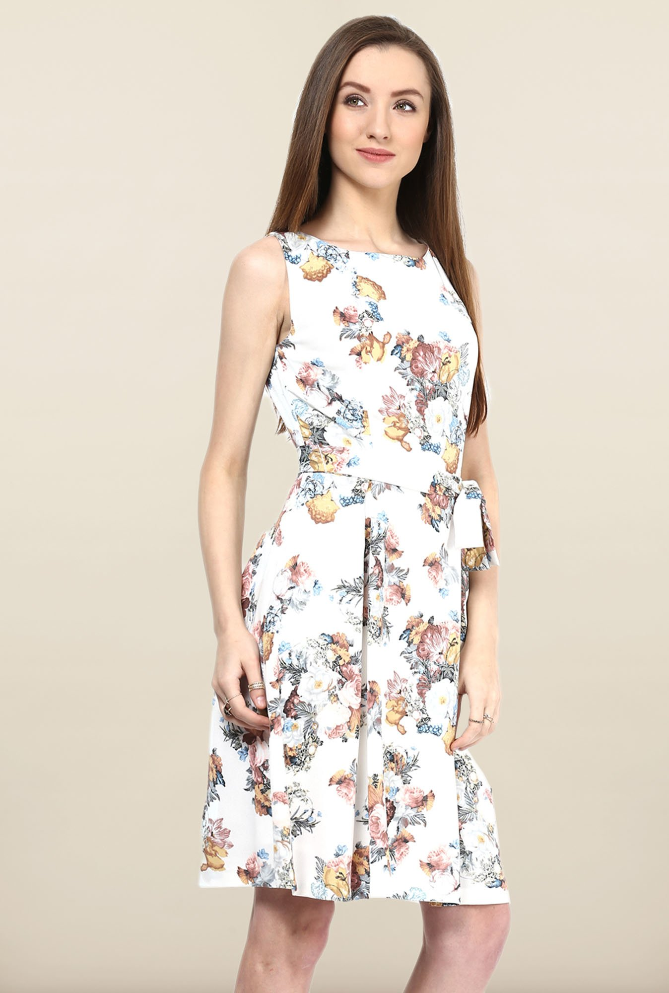 Avirate White Floral Print Skater Dress