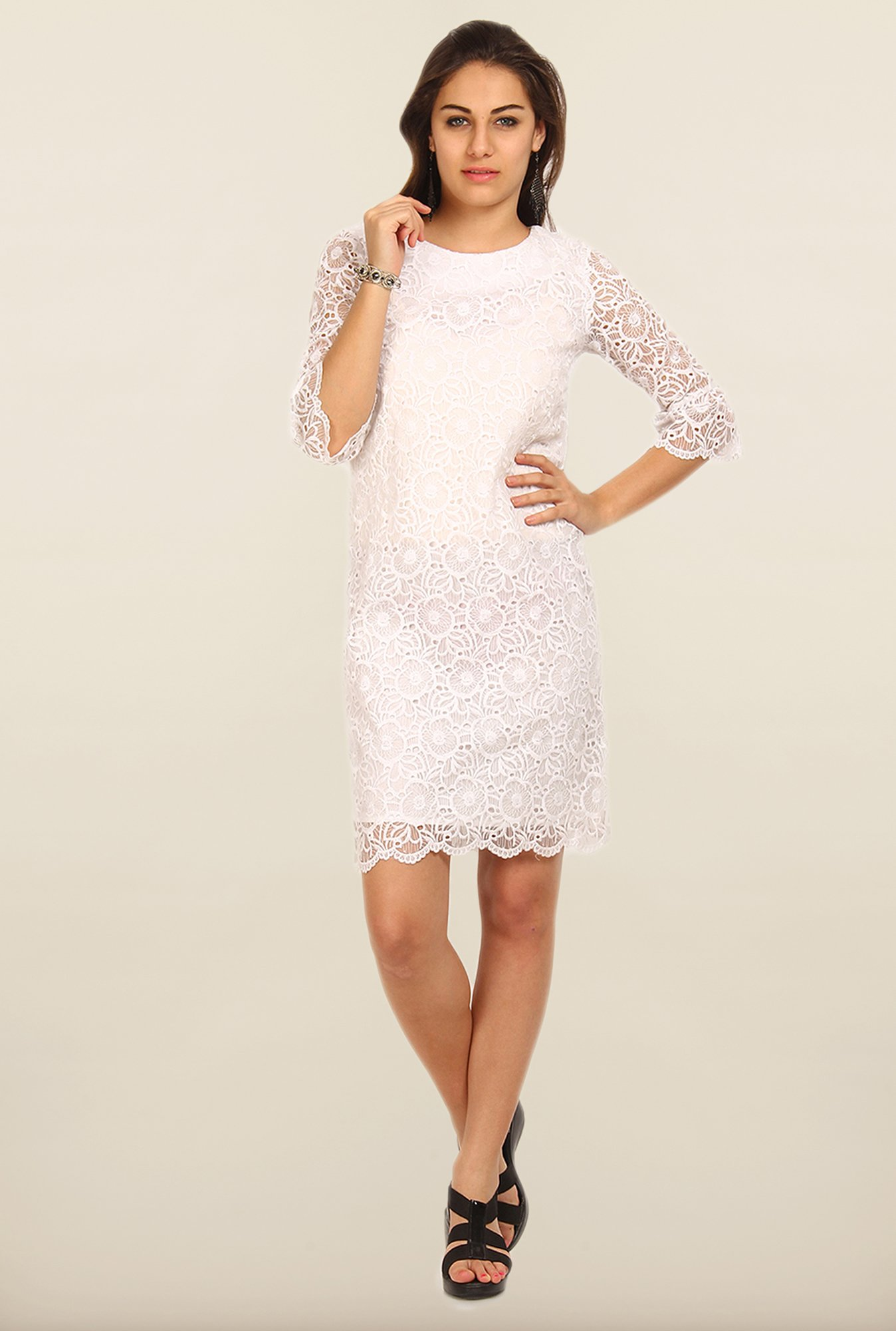 Avirate White Lace Shift Dress