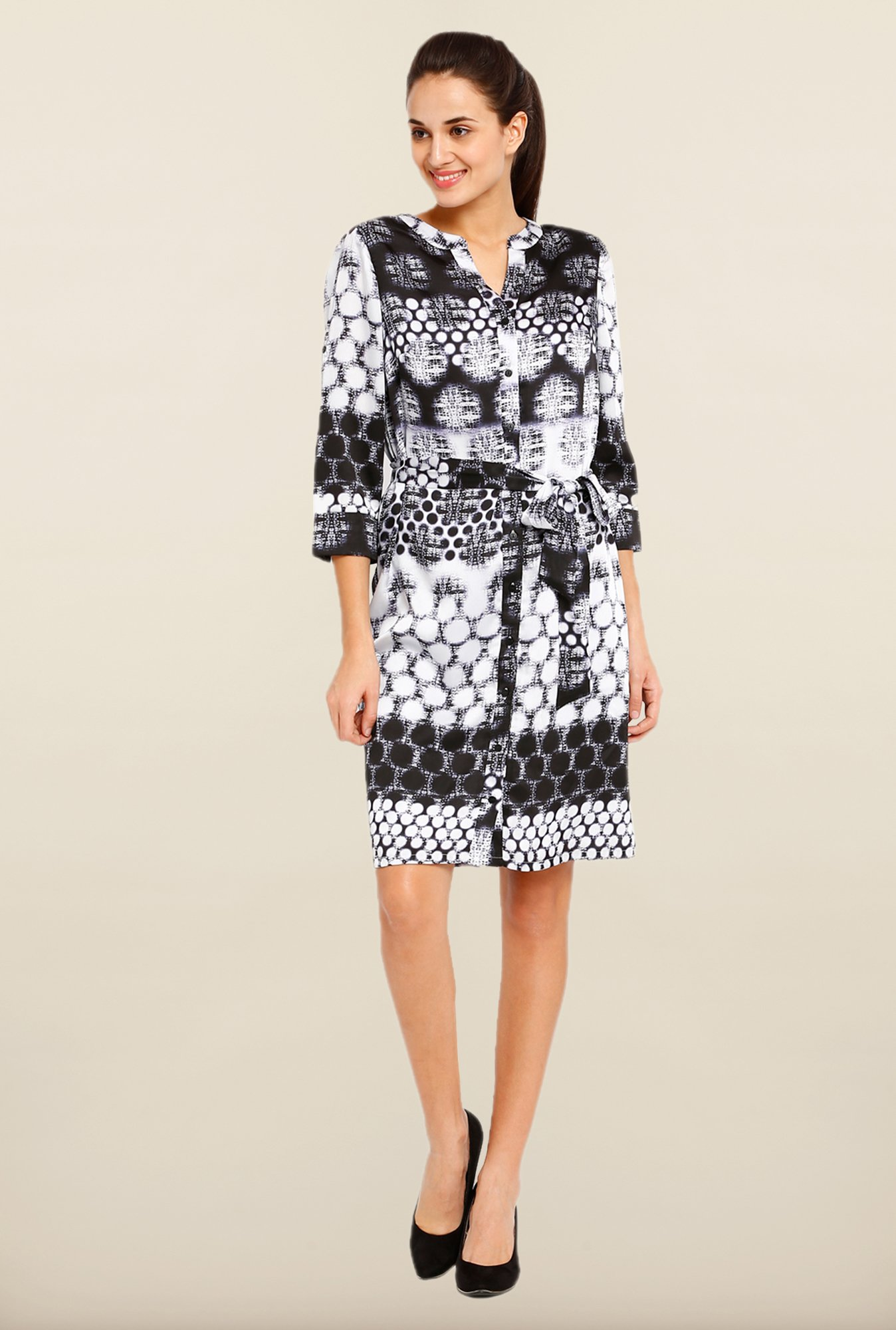 Avirate Black & White Printed Shirt Dress