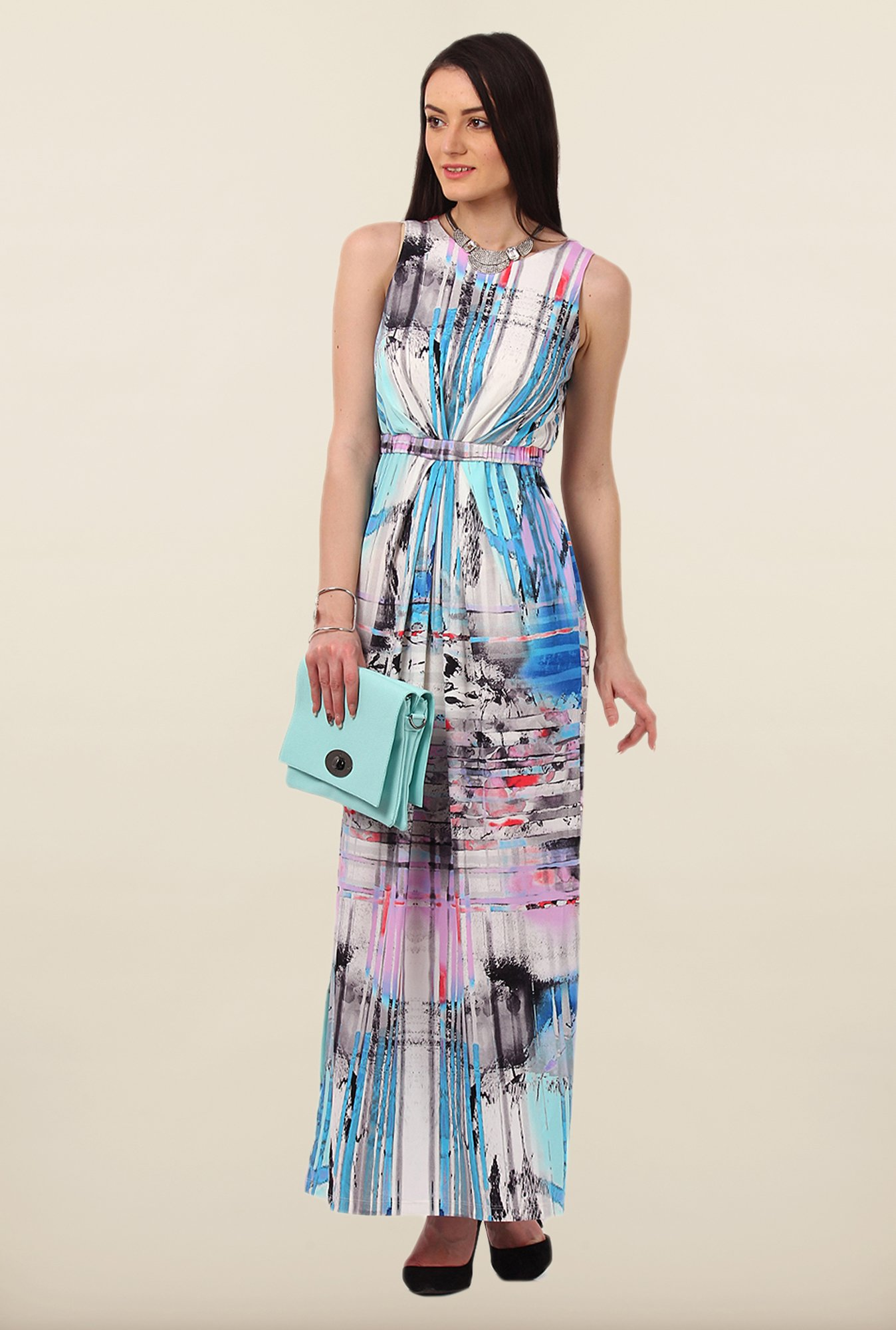 Avirate Multicolor Printed Sleeveless Casual Dress