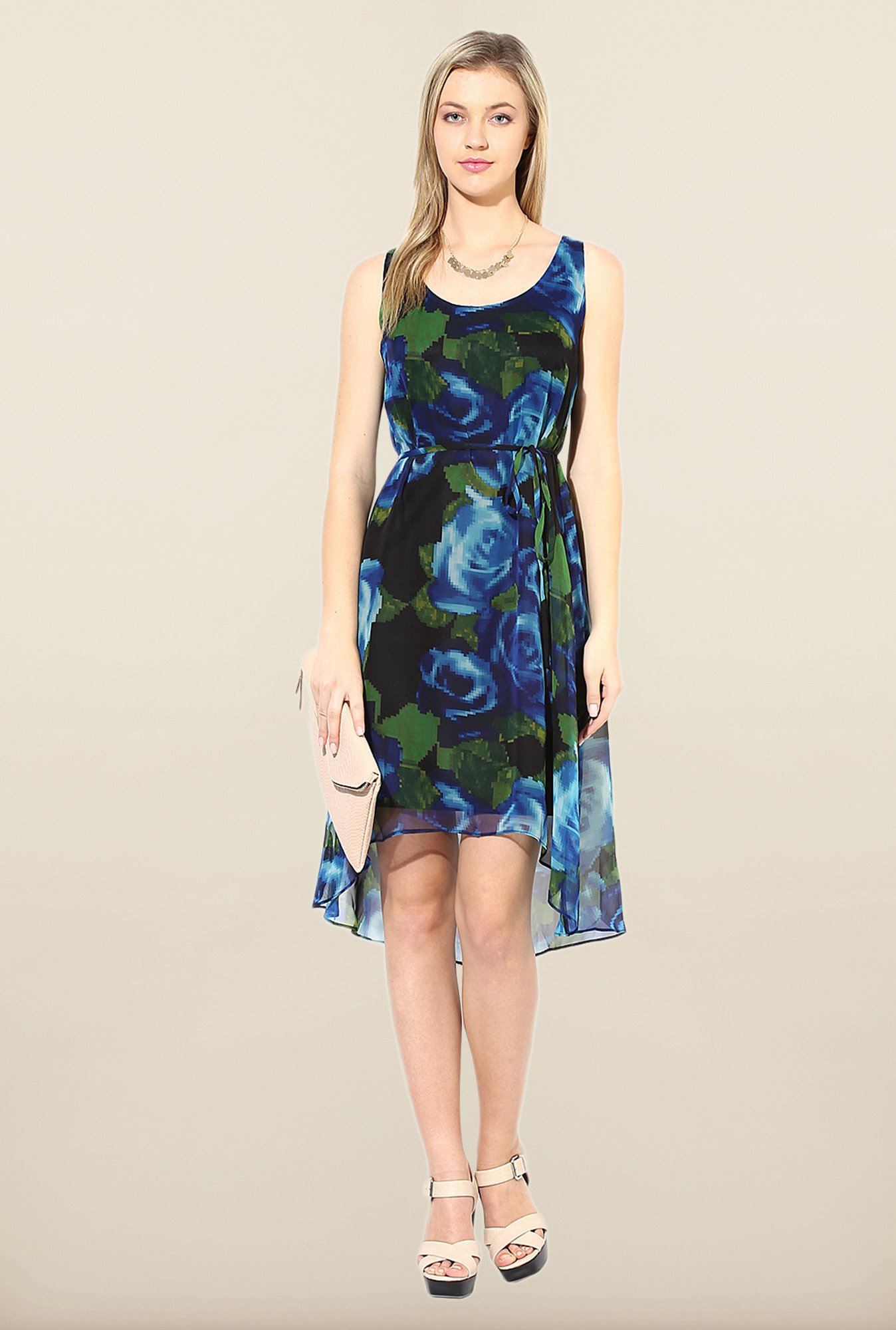 Avirate Green & Blue Printed High-Low Dress