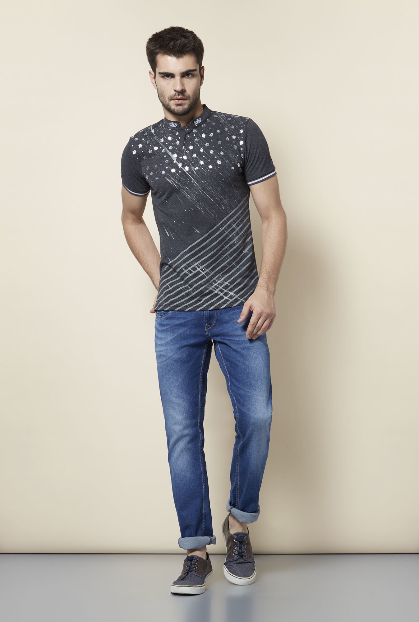 Lawman Charcoal Printed T shirt