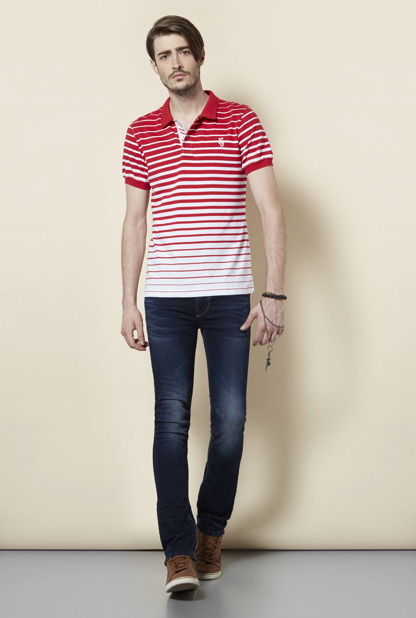 Killer Red Striped Polo T Shirt
