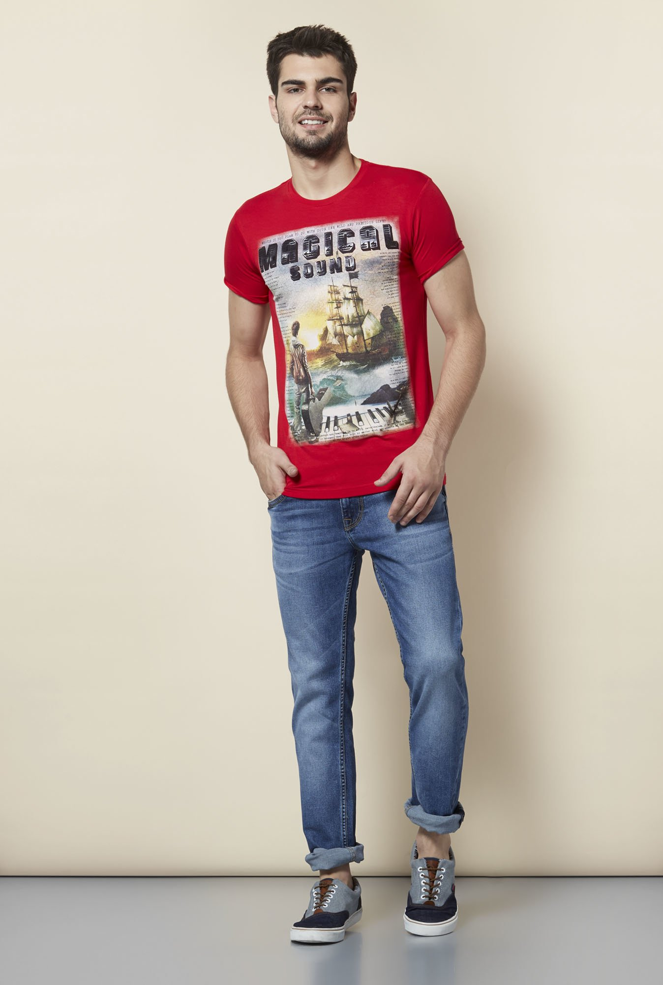 Lawman Red Printed T shirt