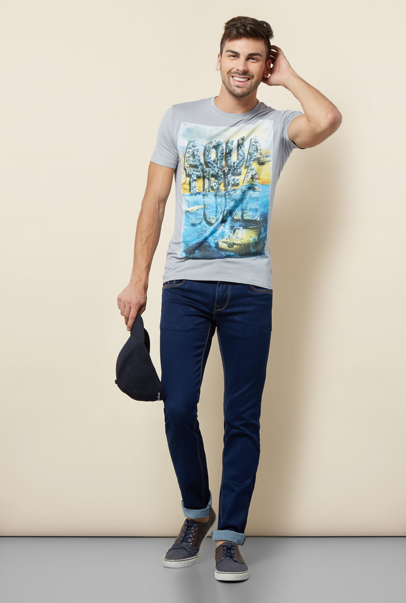 Lawman Grey Printed T shirt