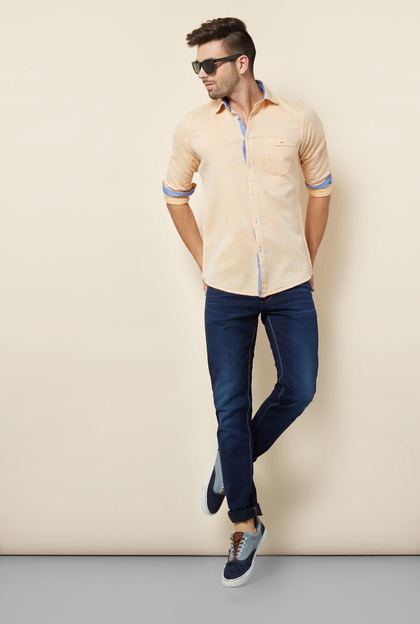Lawman Ochre Solid Casual Shirt