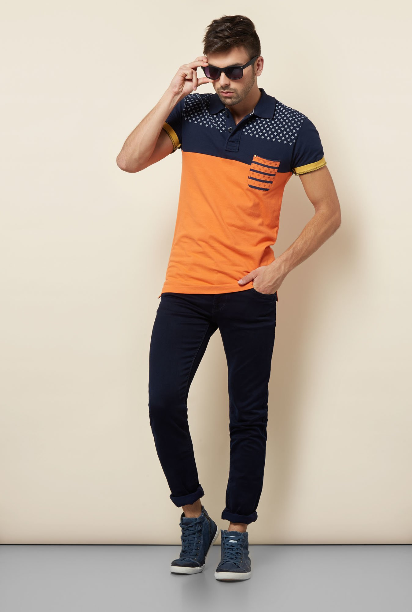 Lawman Orange & Navy Printed T shirt