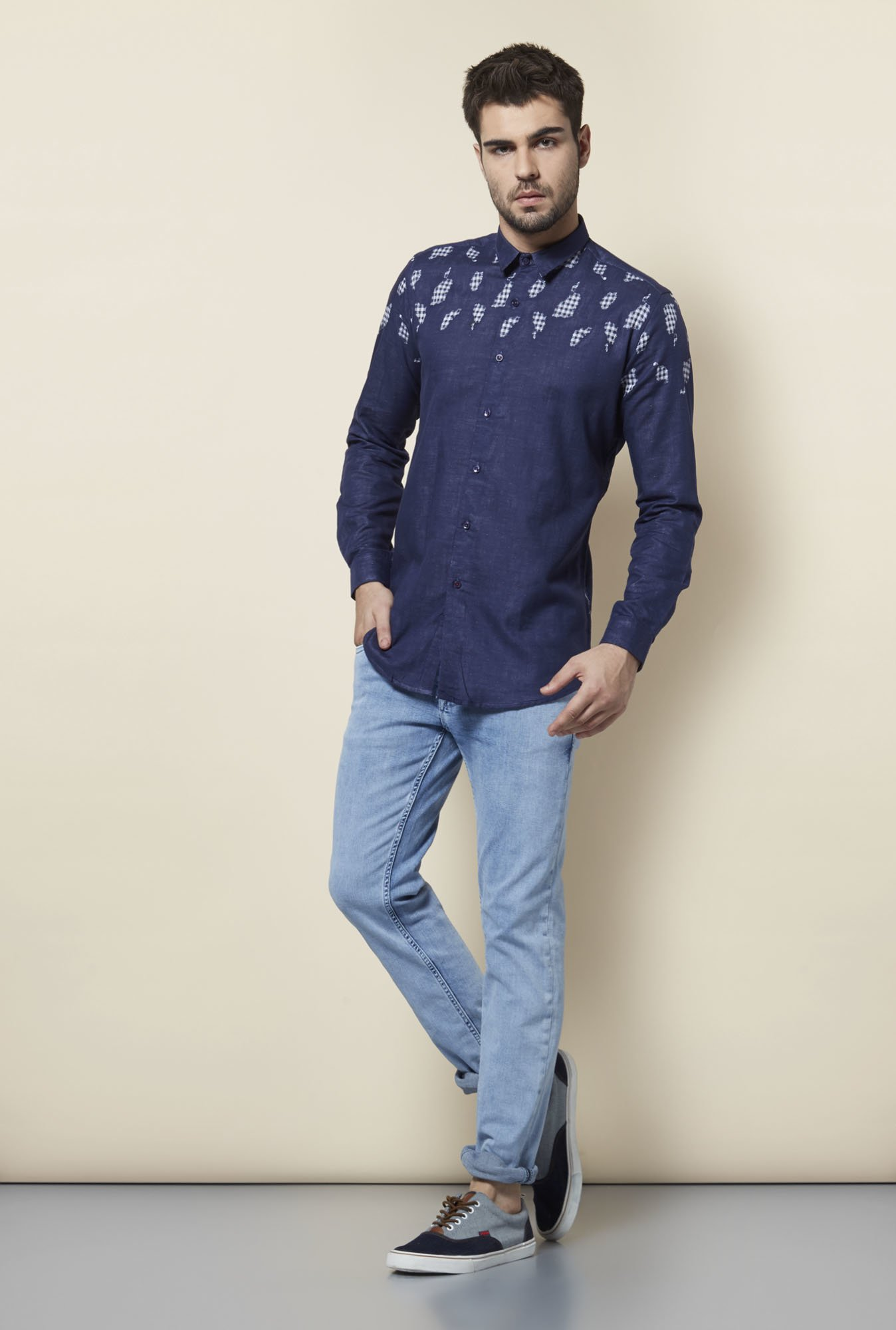 Lawman Navy Printed Cotton Shirt