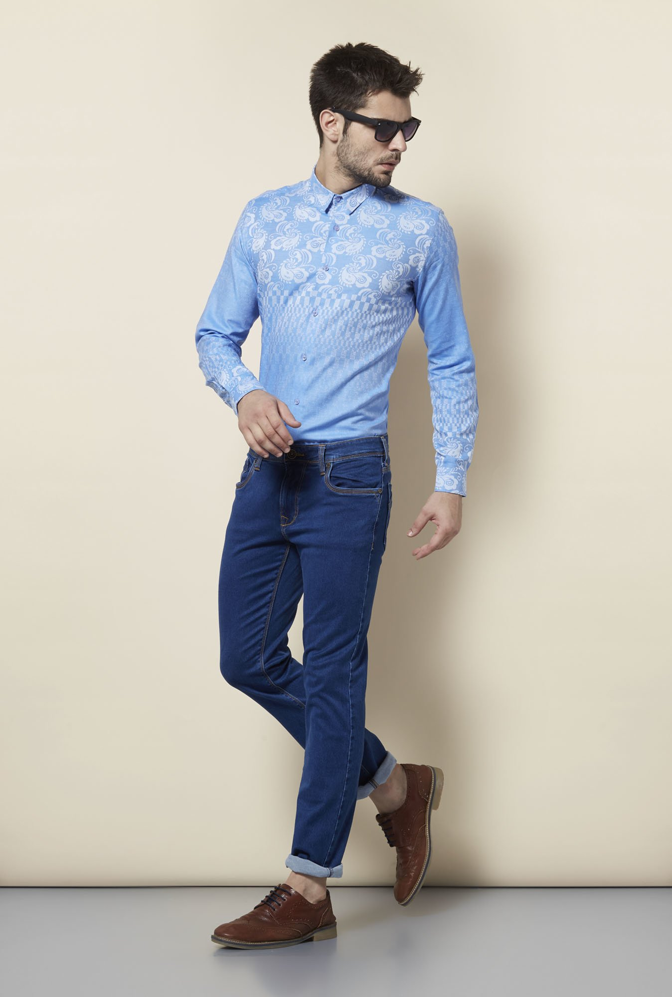 Lawman Blue Cotton Casual Shirt
