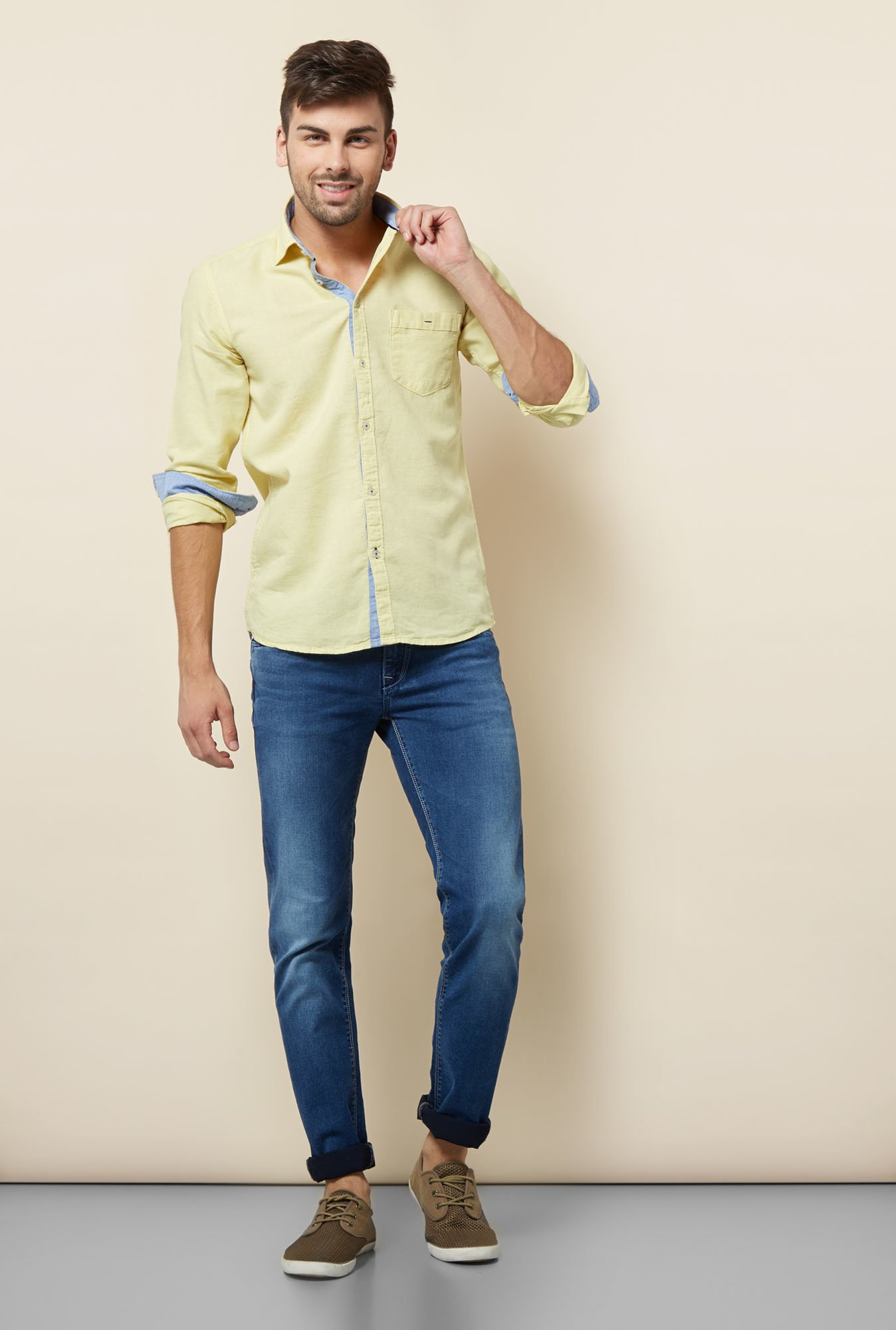 Lawman Yellow Solid Casual Shirt