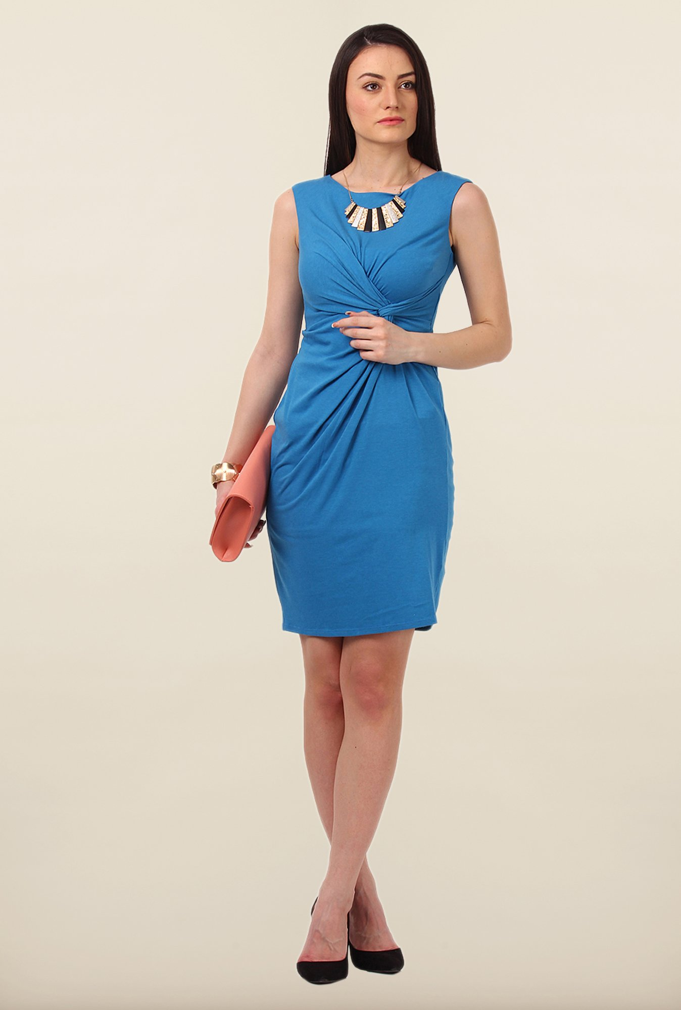 Avirate Blue Solid Sleeveless Jersey Dress