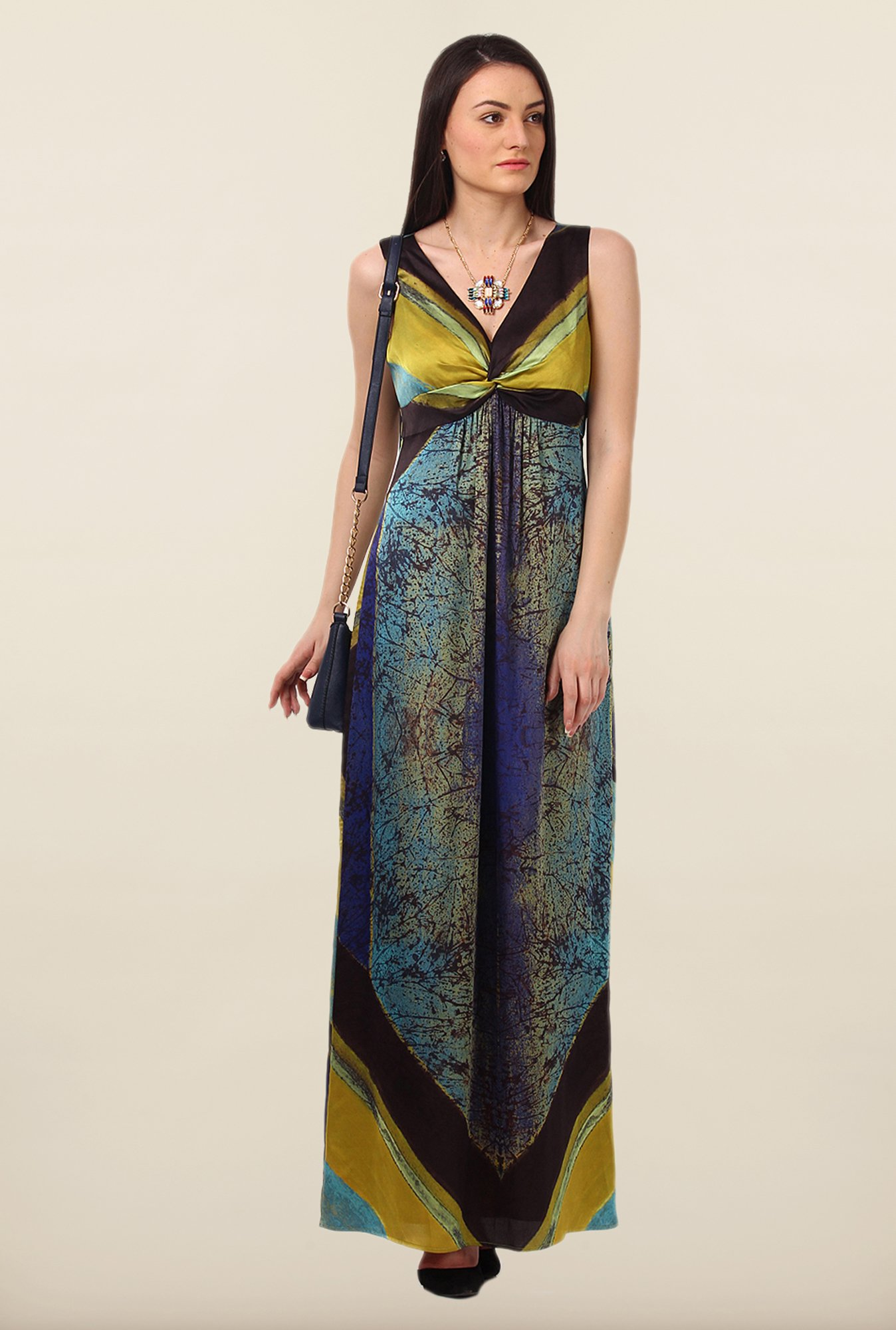Avirate Multicolor Printed Sleeveless Maxi Dress