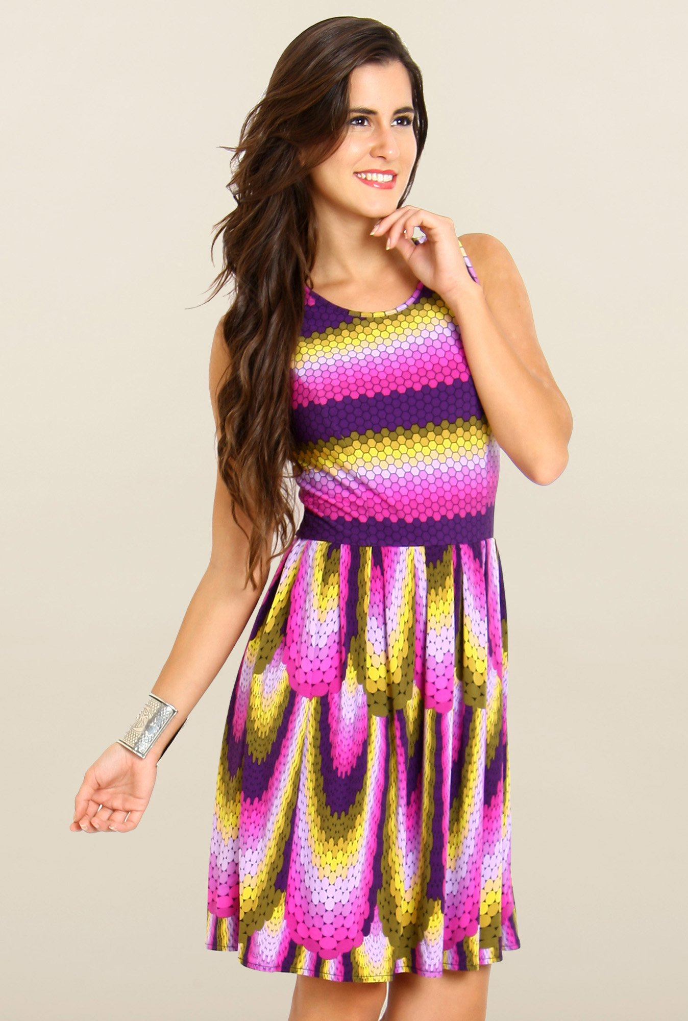 Avirate Multicolor Printed U Neck Casual Dress