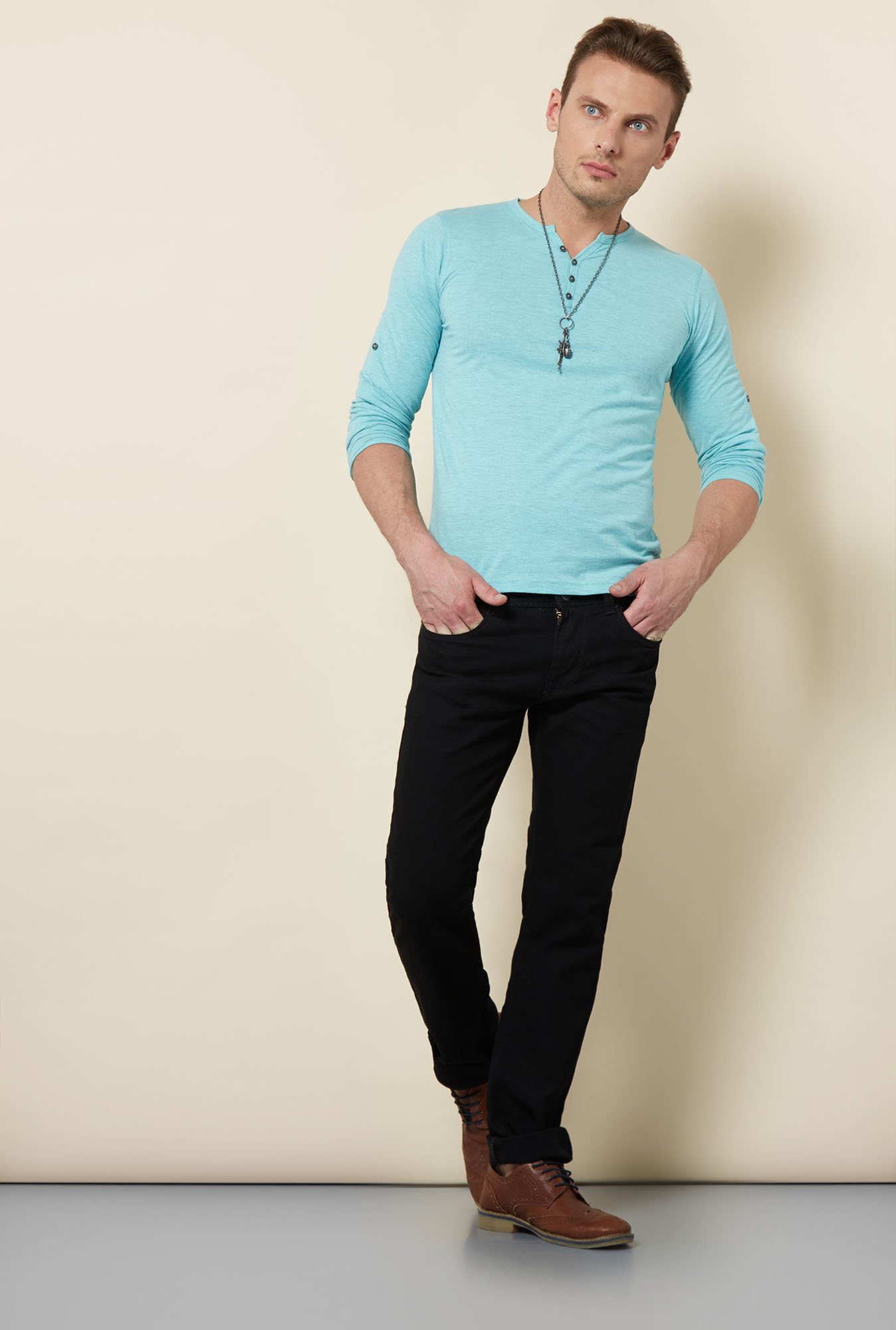 Killer Sky Blue Henley Neck T Shirt