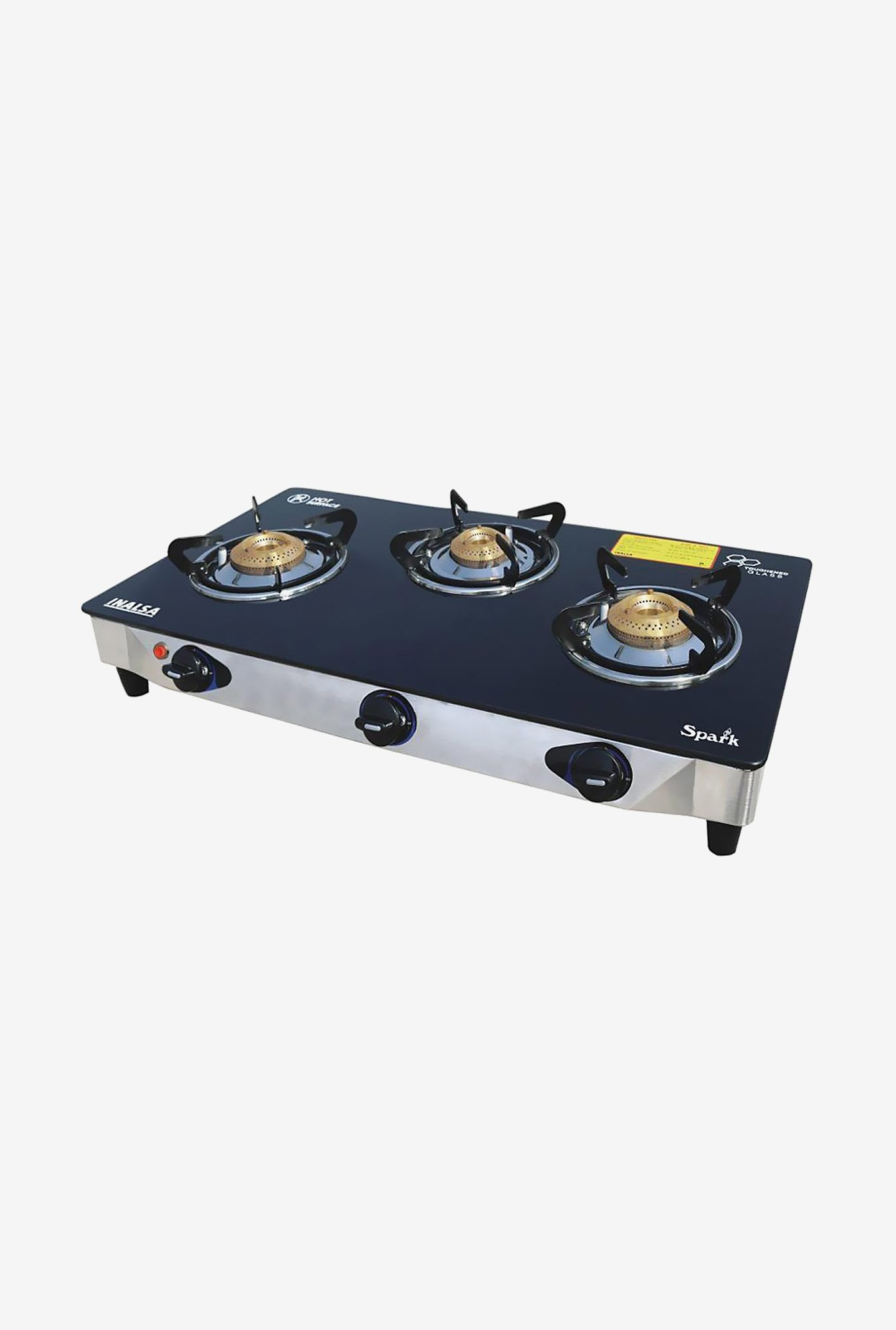Inalsa Spark SS 3 Burner Gas Cooktop Black