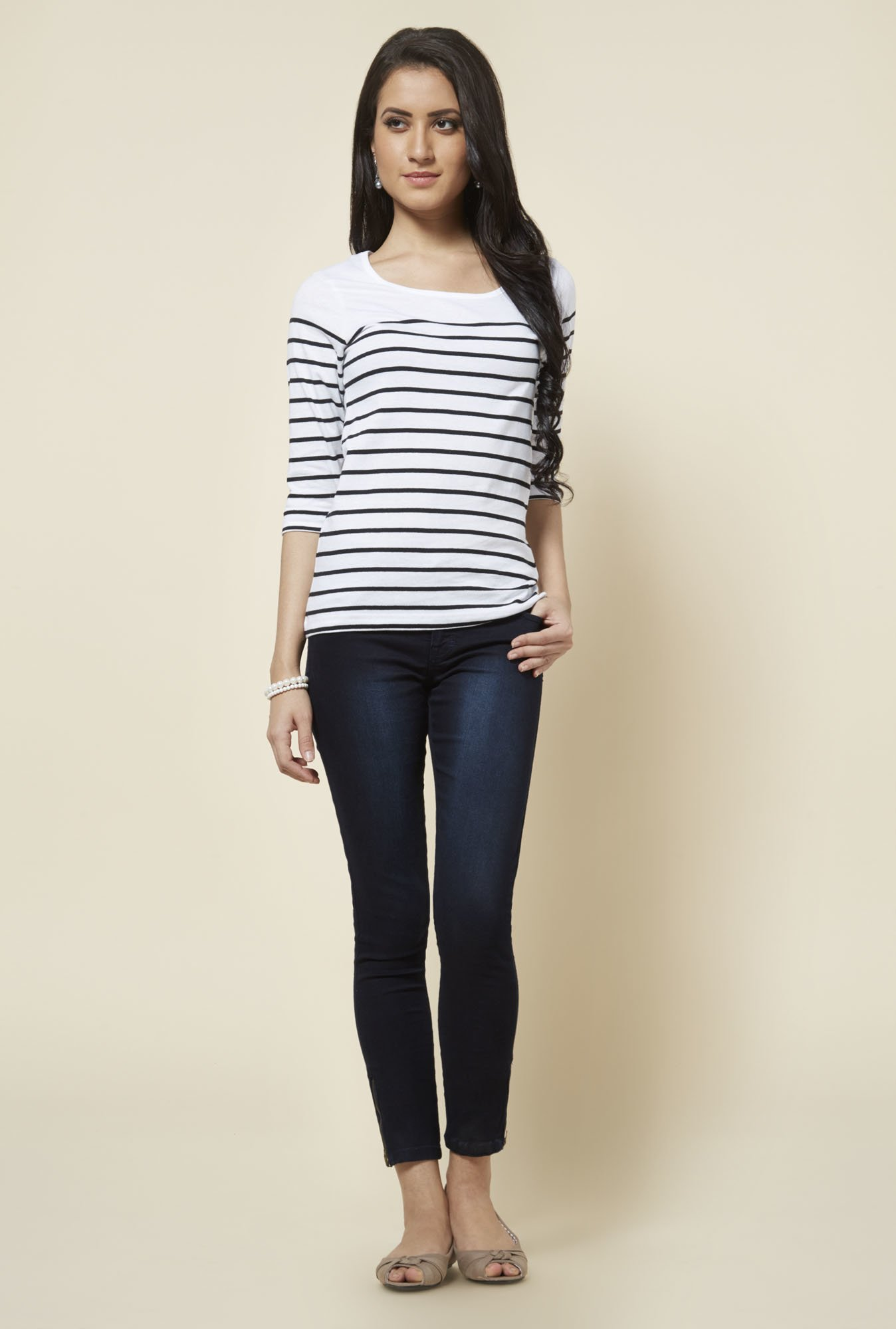 Zudio White Zoe Striped T Shirt