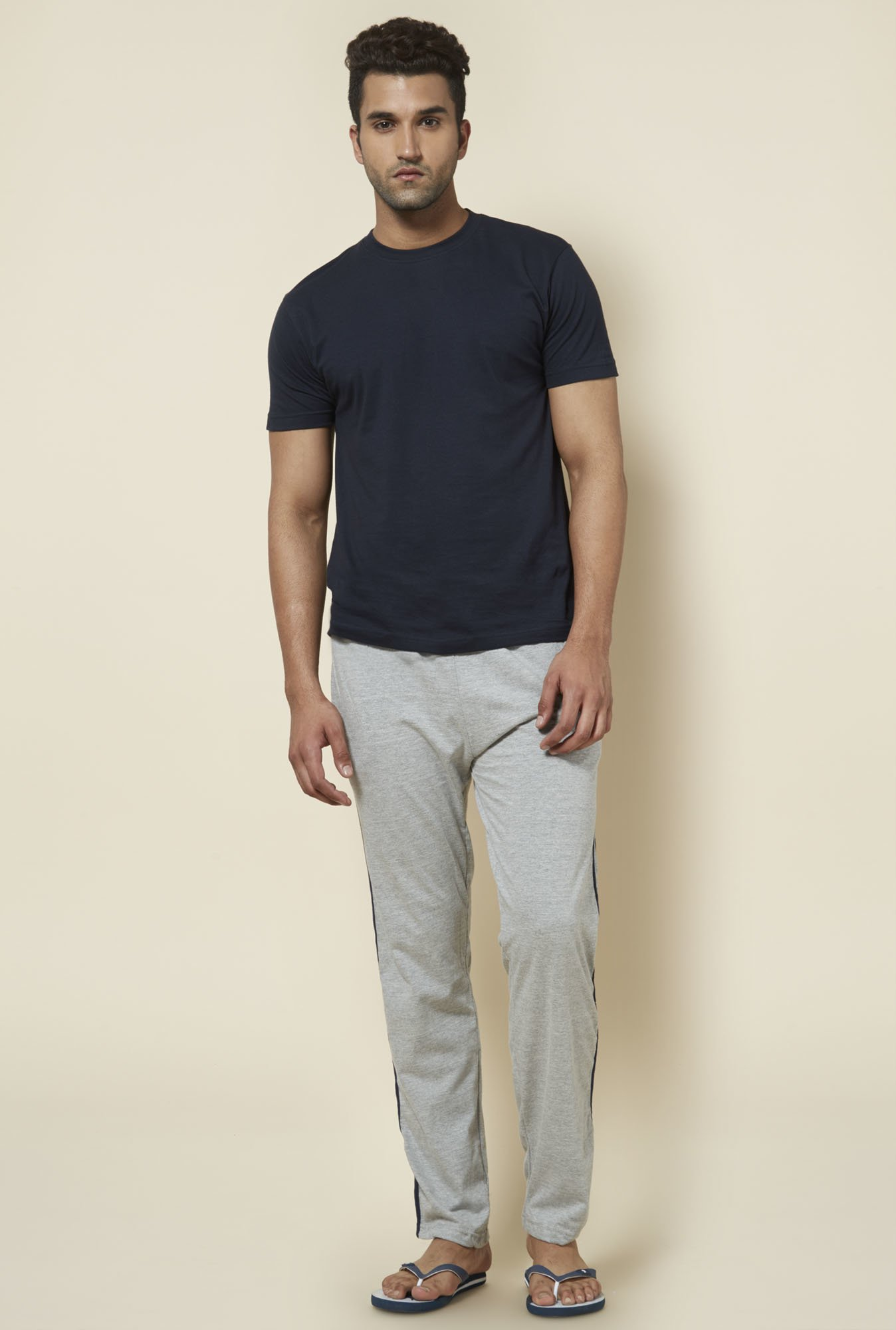 Zudio Grey Solid Cotton Trackpant