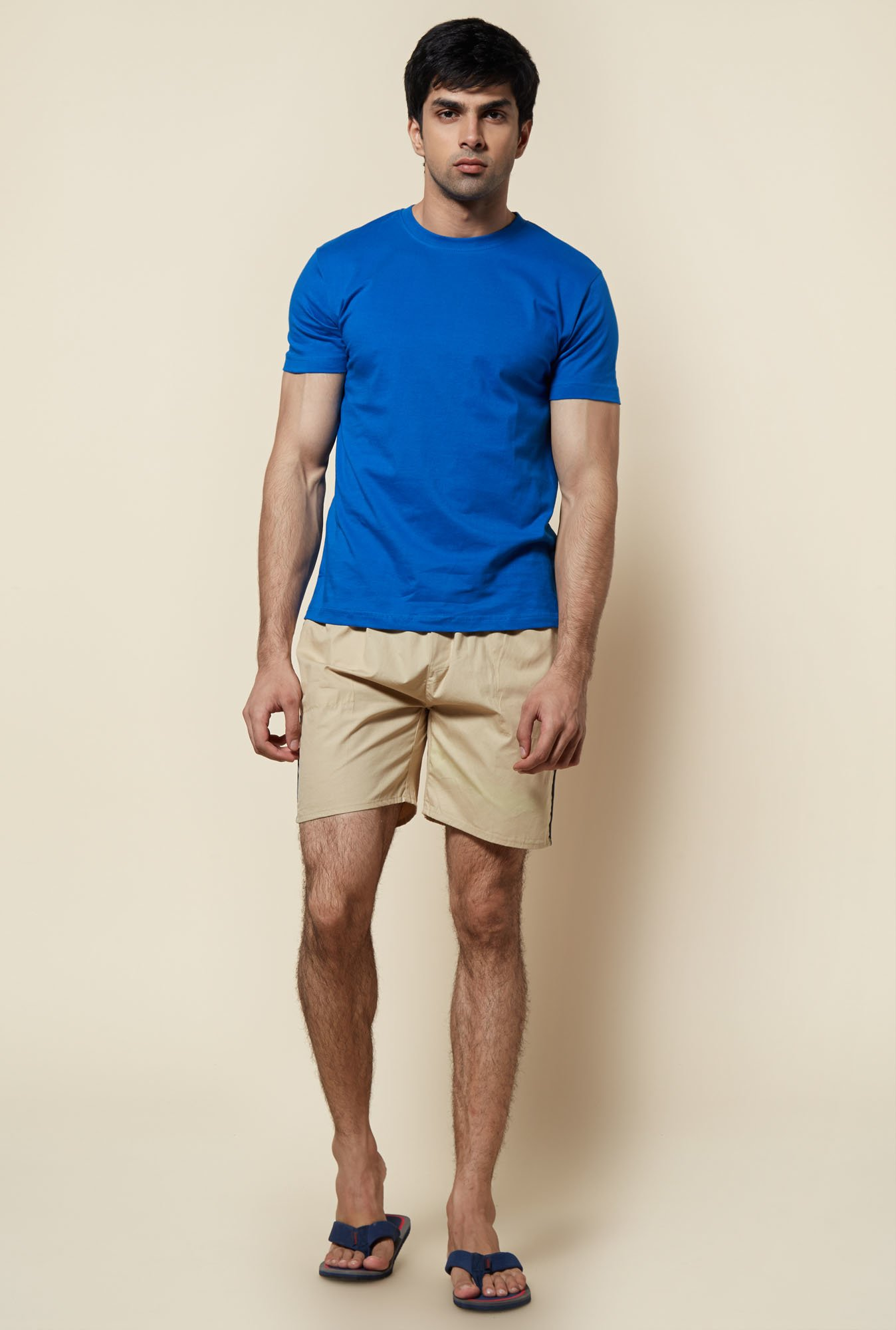 Zudio Beige Solid Elasticated Shorts