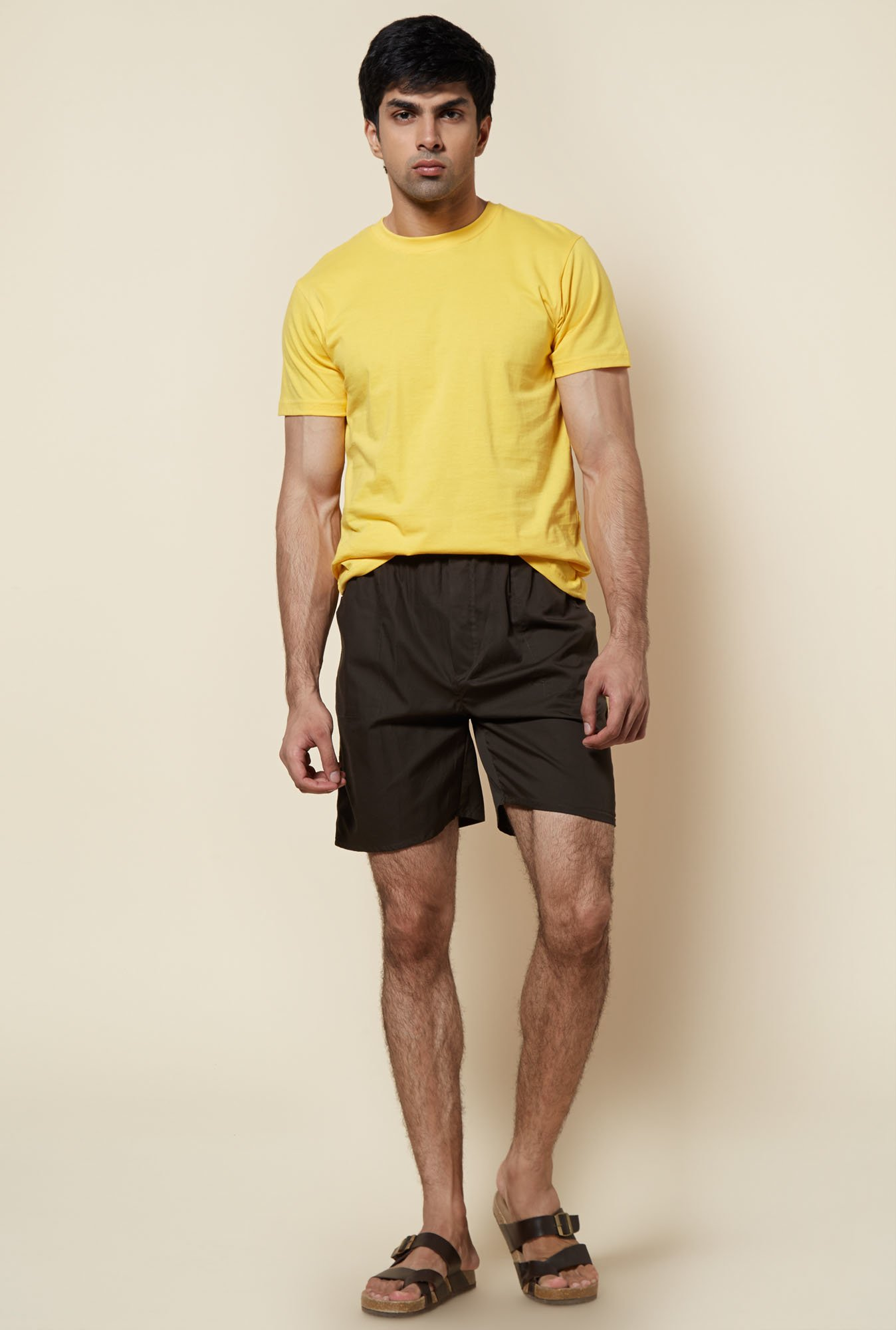 Zudio Olive Solid Cotton Shorts