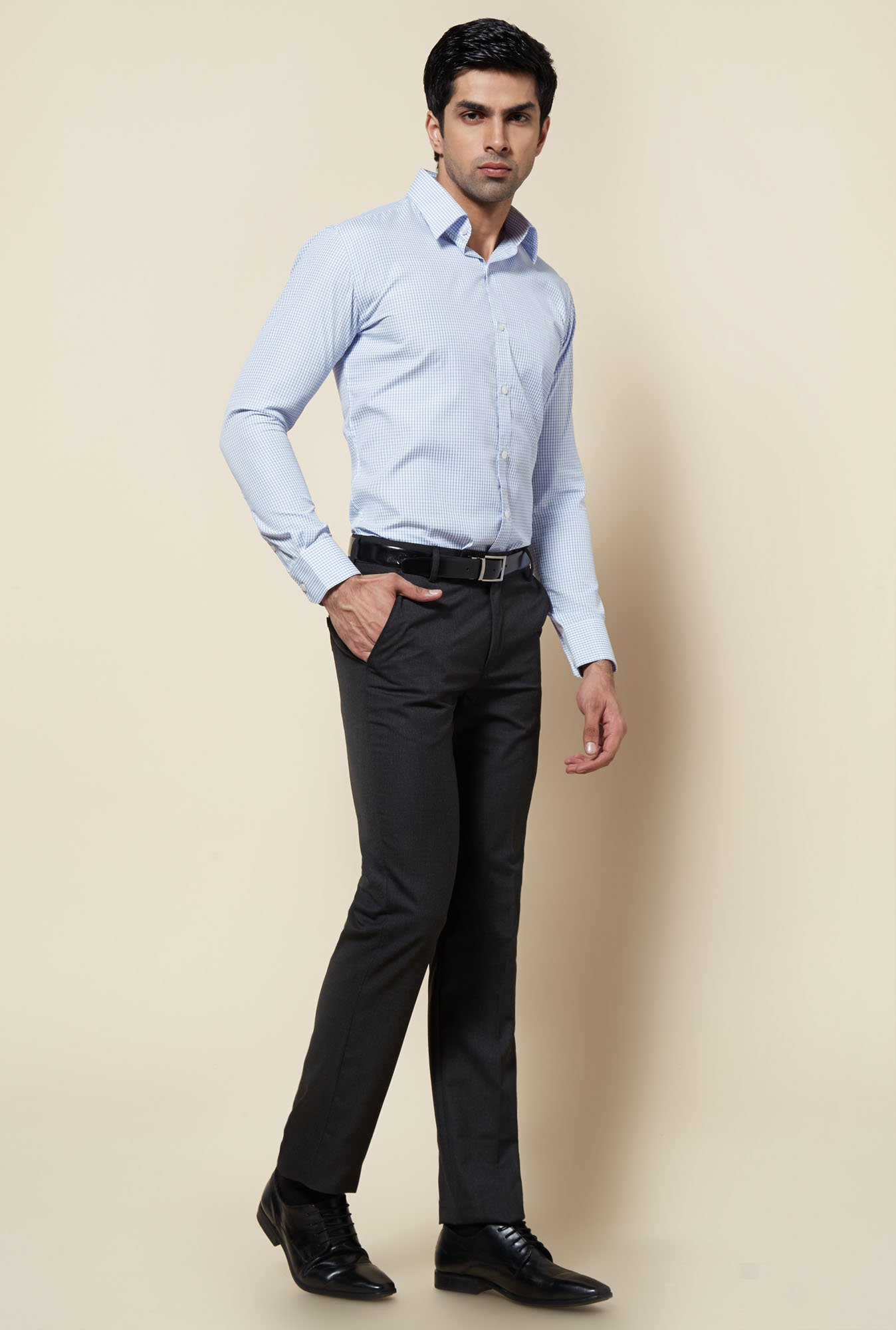 Zudio Grey Solid Formal Trouser