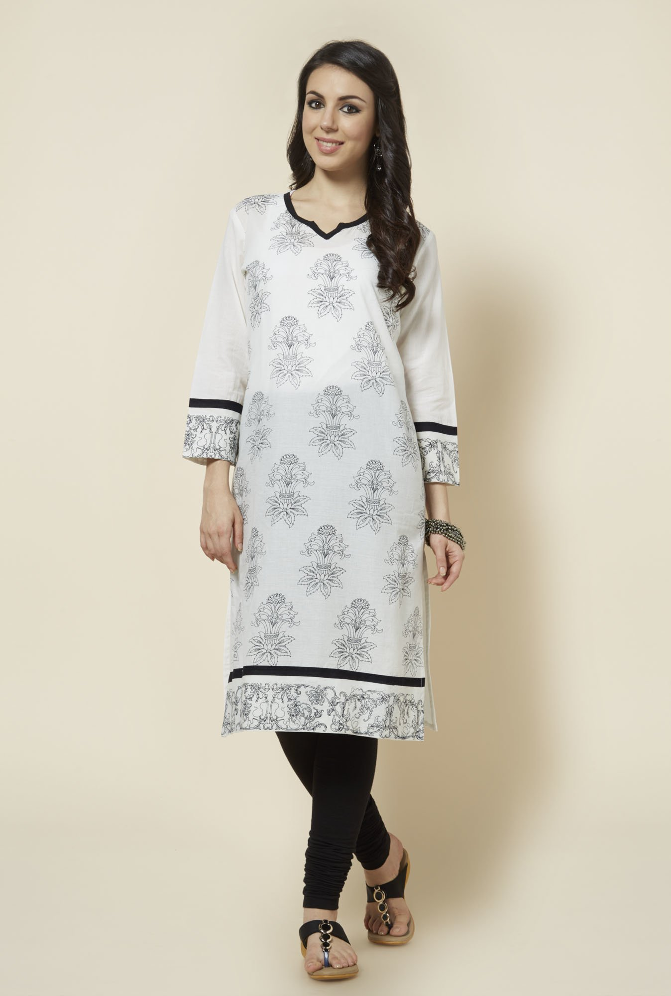 Zudio White Printed Cotton Kurta